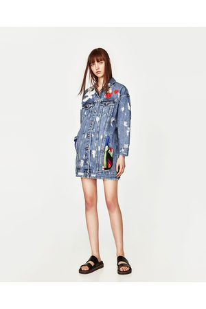 Women Denim Jackets - Zara OVERSIZED DENIM JACKET WITH LOVE DESIGN