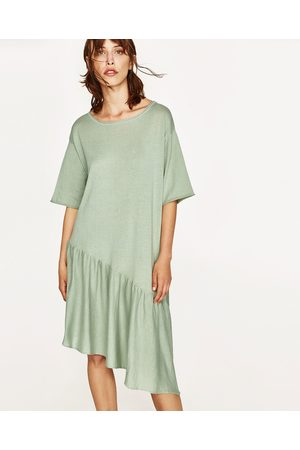 Women Asymmetrical Dresses - Zara DRESS WITH ASYMMETRIC RUFFLE - Available in more colours
