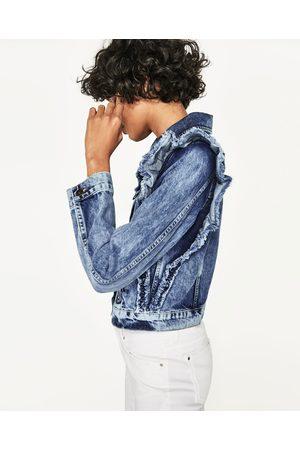 Women Denim Jackets - Zara RUFFLED DENIM JACKET