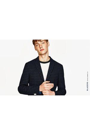 Men Blazers - Zara NAVY CHECKED BLAZER