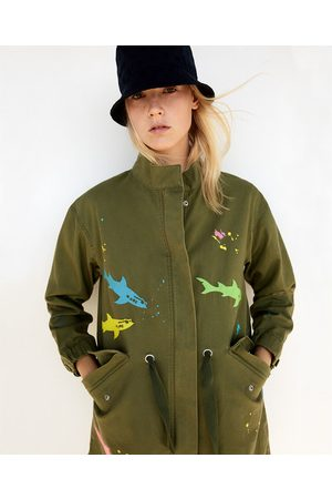 Women Parkas - Zara PARKA WITH EMBROIDERED SHARKS