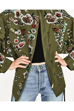 Women Parkas - Zara EMBROIDERED PARKA