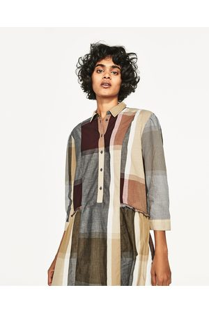 Women Tunics - Zara CHECKED SHIRT TUNIC