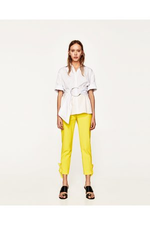 Women Slim & Skinny Trousers - Zara SKINNY TROUSERS WITH BOWS AT THE HEM