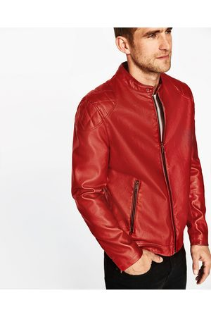 Men Leather Jackets - Zara FAUX LEATHER JACKET WITH STAND COLLAR - Available in more colours