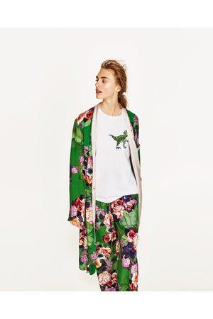 Women Kimonos - Zara LONG FLORAL PRINT KIMONO
