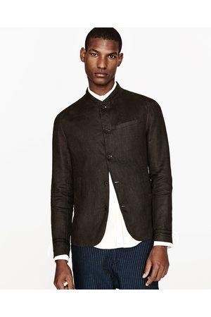 Men Blazers - Zara LINEN BLAZER WITH MANDARIN COLLAR - Available in more colours