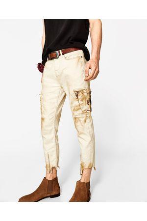 Men Cargo Trousers - Zara DESERT DENIM CARGO TROUSERS
