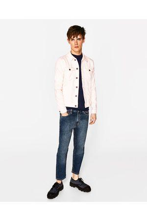 Men Denim Jackets - Zara Plush denim jacket