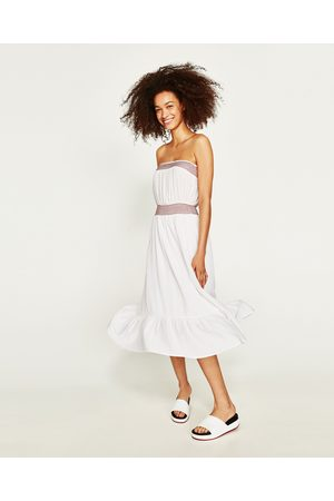 c0148c0d Women Dresses - Zara OFF-THE-SHOULDER DRESS WITH CONTRASTING EMBROIDERY