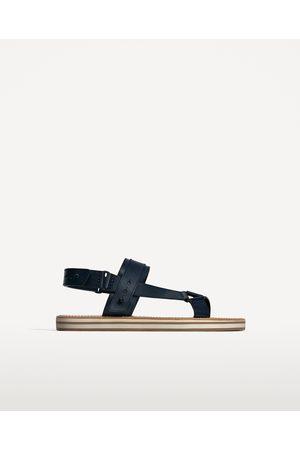 Men Sandals - Zara BLUE LEATHER SANDALS