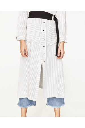 Women Tunic Dresses - Zara STRIPED TUNIC WITH BELT