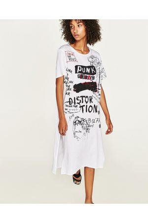 d60cbe30eee Women T-shirts - Zara LONG T-SHIRT WITH GRAFFITI PRINT