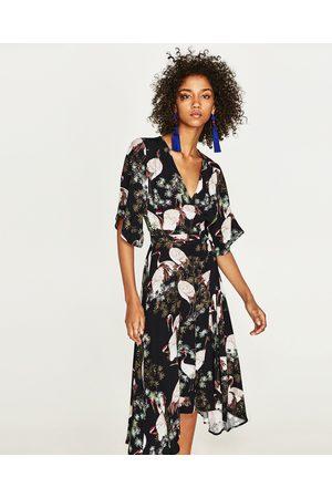 Women Printed Dresses - Zara PRINTED MIDI DRESS WITH BELT