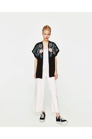 Women Kimonos - Zara EMBROIDERED KIMONO JACKET