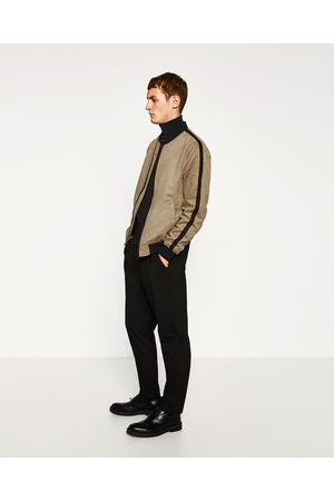 Men Leather Jackets - Zara FAUX SUEDE BOMBER JACKET - Available in more colours