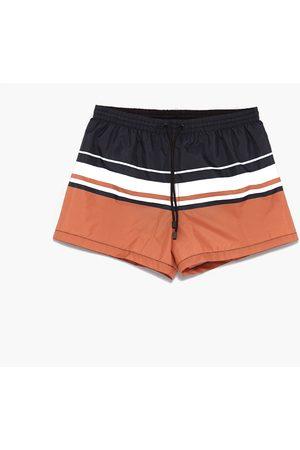 Men Swim Shorts - Zara CONTRASTING SWIMMING TRUNKS
