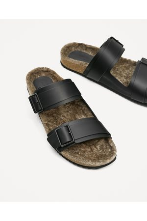 Men Sandals - Zara LEATHER SANDALS WITH FAUX FUR