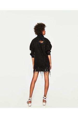 Women Denim Jackets - Zara LONG DENIM JACKET
