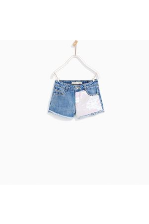 Girls Bermudas - Zara DOUBLE SEQUINNED DENIM BERMUDA SHORTS