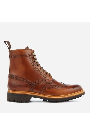 Men Boots - Men's Fred Hand Painted Leather Commando Sole Lace Up Boots