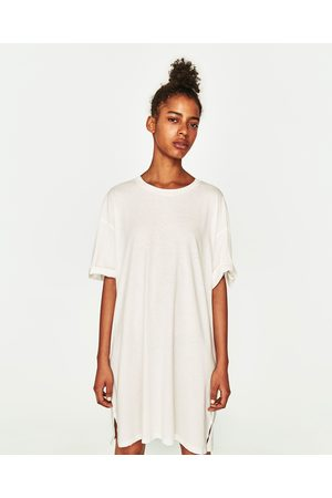 Women Casual Dresses - Zara OVERSIZED RIBBED T-SHIRT WITH RIPS - Available  in more 569675a17