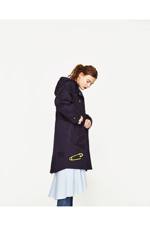 Women Parkas - Zara EMBROIDERED PARKA JACKET