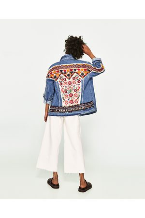 Women Denim Jackets - Zara EMBROIDERED DENIM JACKET