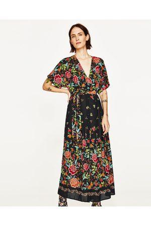 Women Printed Dresses - Zara PRINTED SARONG MIDI DRESS