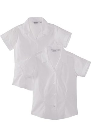 Girls Blouses - Girl's, 2 pack, Fitted Easy Care Plain Blouse