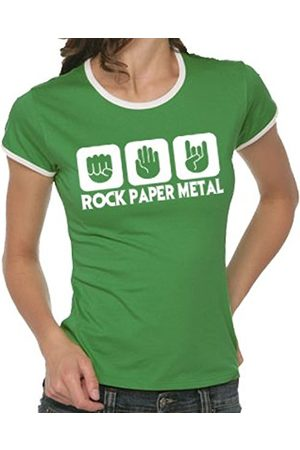 Women T-shirts - Touchlines Stone Paper Rock Heavy Metal Girlie Ringer Women's Contrast T-Shirt Size:S