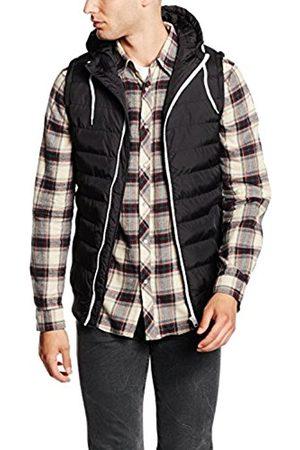 Men Bodywarmers & Gilets - Urban classics Men's Small Bubble Hooded Vest Gilet, Multicoloured-Mehrfarbig (Blk/Wht 50)