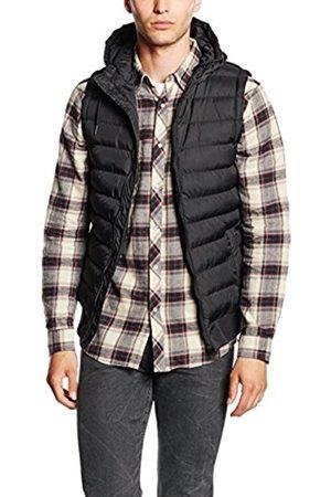 Men Bodywarmers & Gilets - Urban classics Men's Small Bubble Hooded Vest Gilet, -Schwarz (Blk/Blk 17)