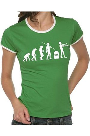 Women T-shirts - Touchlines Evolution Zombies Girlie Ringer Women's T-Shirt Contrast Size:M
