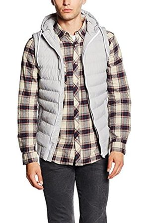 Men Bodywarmers & Gilets - Urban classics Men's Small Bubble Hooded Vest Gilet, Multicoloured-Mehrfarbig (Gry/Wht 132)