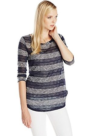 Women Long Sleeve - Splendid Women's Rugby Pointelle Loose Knit Striped Boat Neck Long Sleeve Top