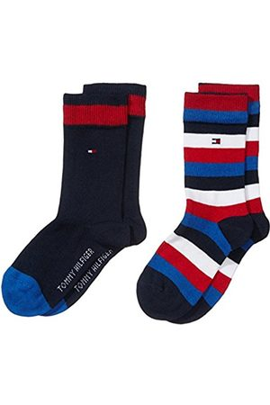 Boys Socks - Tommy Hilfiger Boy's TH KIDS BASIC STRIPE SOCK 2P Striped Calf Socks
