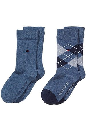 Boys Socks - Tommy Hilfiger Boy's TH KIDS ORIGINAL ARGYLE SOCK 2P Checkered Ankle Socks