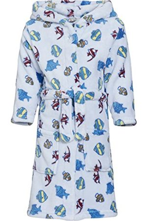 Boys Bathrobes - Playshoes Boy's Hooded Fleece Fish Bathrobe