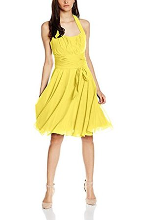 Women Party & Evening Dresses - Women's Co8002ap Knee-Length Plain Cocktail Sleeveless Dress, Yellow