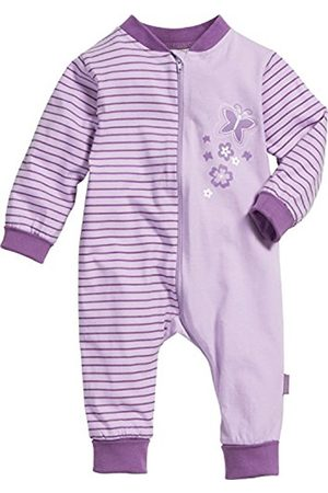 Bathrobes - Playshoes Baby-Girls Overall Jersey Butterflies Sleepsuit