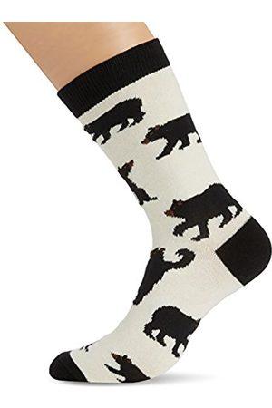 Men Socks - Hatley Little Blue House by Men's Crew-Black Bears Calf Socks