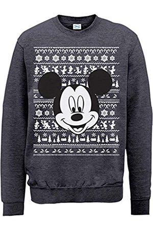 Men Sweatshirts - Men's Mickey Mouse Christmas Mickey Head Long Sleeve Sweatshirt