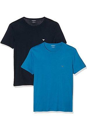 Men Tops - Armani Men's 1112676A722 Pyjama Top Pack of 2, Multicoloured-(Cobalto/Marine 17033)