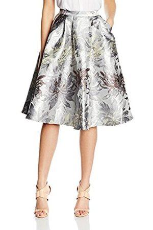 Women Skirts - Little Mistress Women's Silver Jacquard Skirt