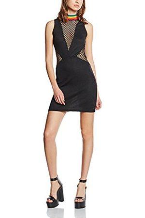 Women Sleeveless Dresses - Women's Rainbow Rib and Mesh Insert Sleeveless Dress