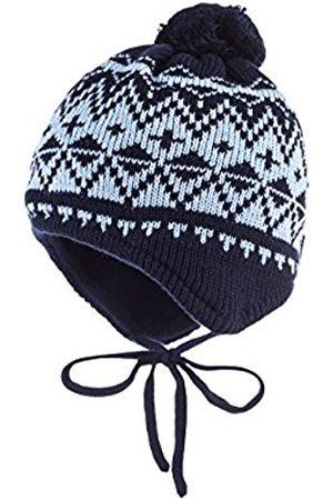 Boys Hats - maximo Boy's Mütze, Pompon, Bindeband, Rhomben Hat, Multicoloured-Mehrfarbig (Dunkelmarine/Cerulean 1121)