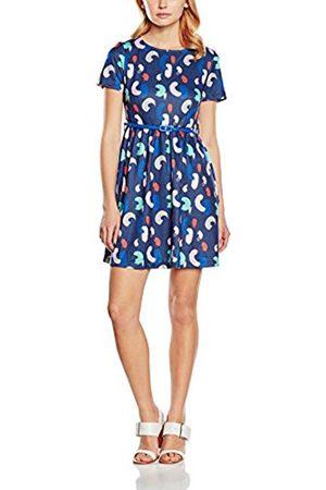Women Printed Dresses - Yumi Women's Brush Stroke Printed Skater Short Sleeve Dress