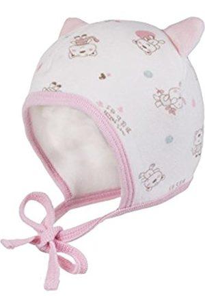 Hats - maximo Baby Girls' Mütze, Bindeband, Kleine Ohren, Nickysamt Hat, Multicoloured-Mehrfarbig (Wollweiß/Artikrosa-Bär 41)