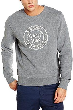 GANT Men's O1 1949 C-Neck Sweat Sweatshirt, -Grau (Dark Melange 92)